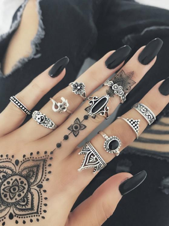 latest 10Pcs Retro Yin And Yang Carved Rings Set - SILVER