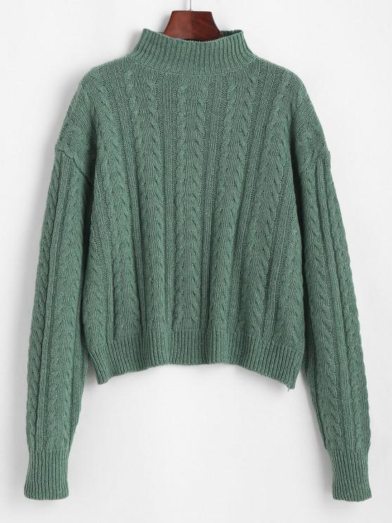 new High Neck Drop Shoulder Cable Knit Sweater - LIGHT GREEN ONE SIZE