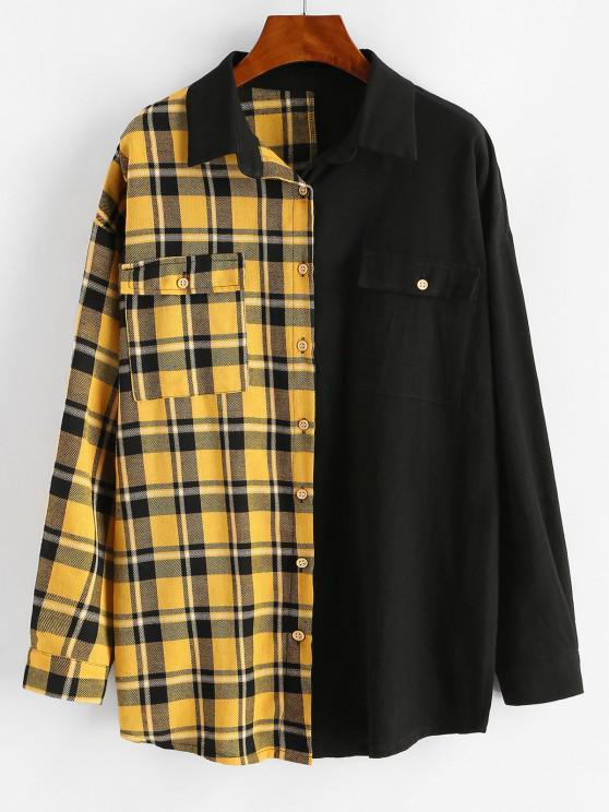 trendy Button Down Contrast Plaid Flap Pockets Shirt - BLACK L