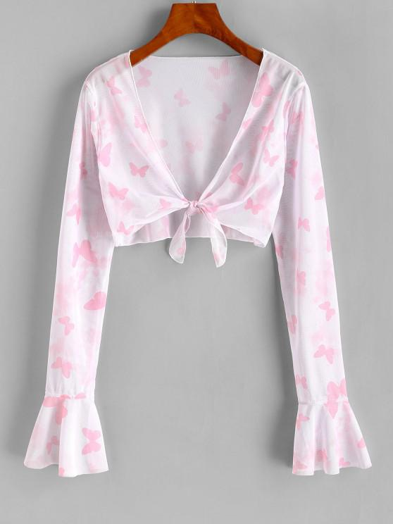 trendy ZAFUL Mesh Butterfly Print Tie Front Crop Cover Up Top - LIGHT PINK L