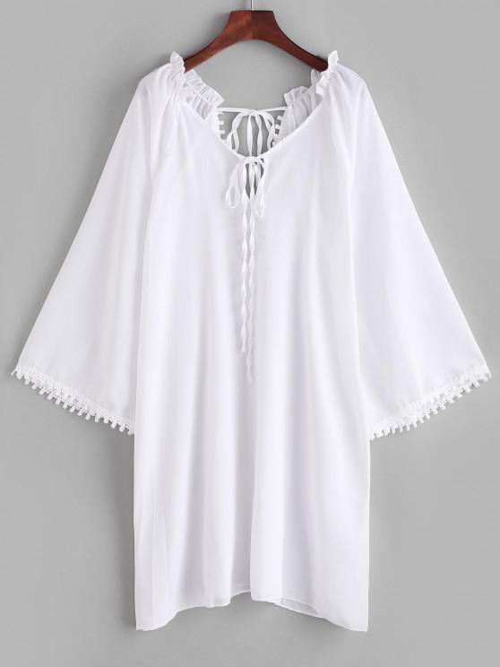 Rüschen Guipure Insert Schlitz Cover-Up Kleid - Weiß M