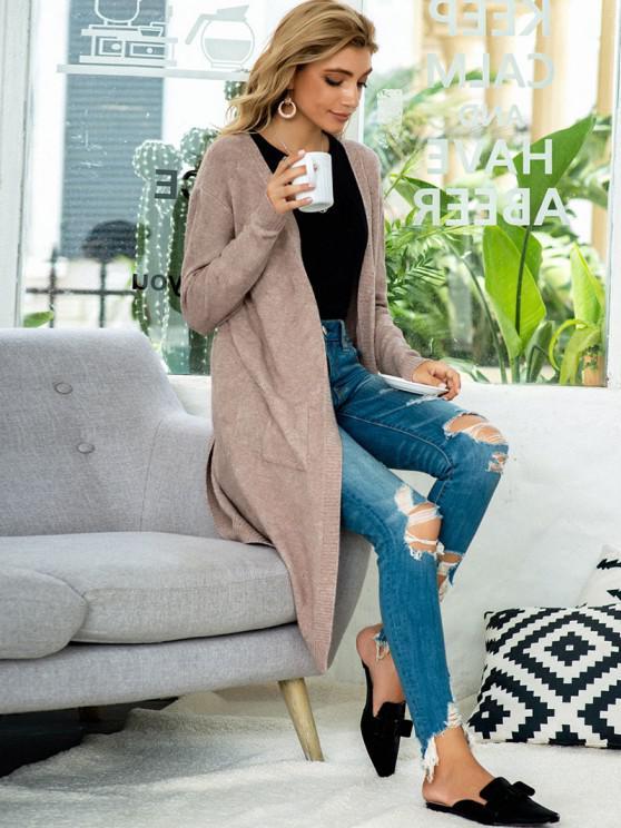 Open Front Heathered Dual Pocket Cardigan - Coffee | ZAFUL
