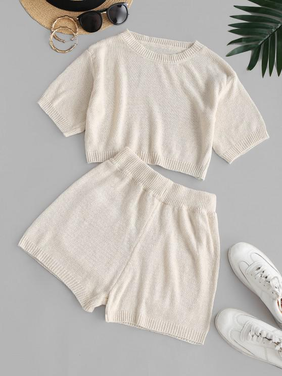 women Plain Cropped Pockets Two Piece Set - LIGHT COFFEE S