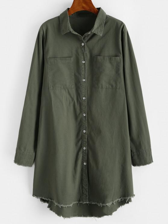 latest Frayed Patched Pockets Longline Shirt - FERN GREEN S