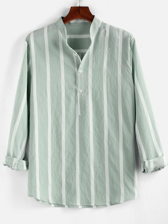 online ZAFUL Striped Print Half Button Long Sleeve Shirt - LIGHT GREEN M