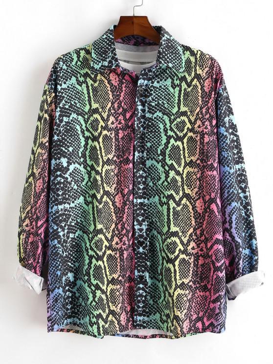 lady Colorful Snake Print Button Up Shirt - MULTI 2XL