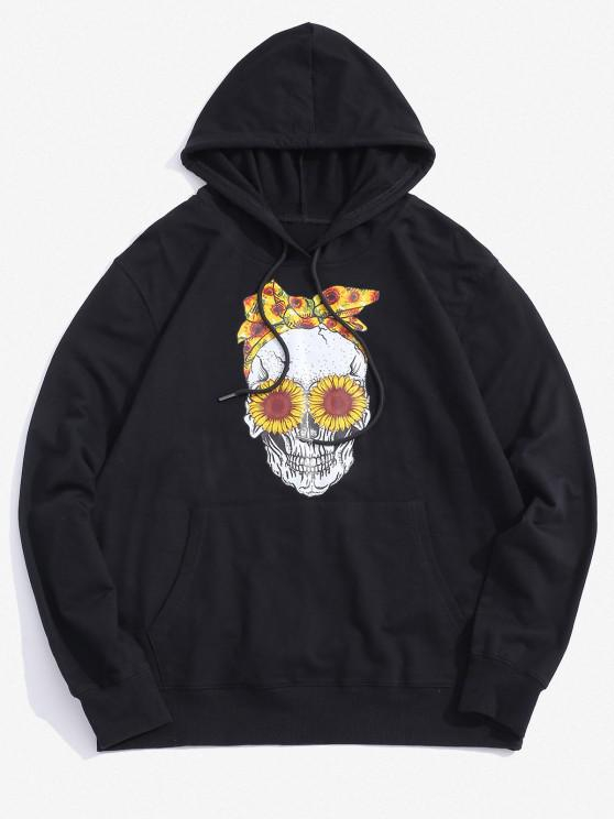 sale Halloween Daisy Skull Graphic Pouch Pocket Casual Hoodie - BLACK 2XL
