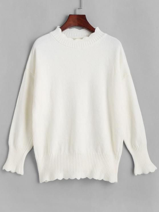 Überbackener Hängender Schulter Stehkragen Pullover - Weiß Eine Größe