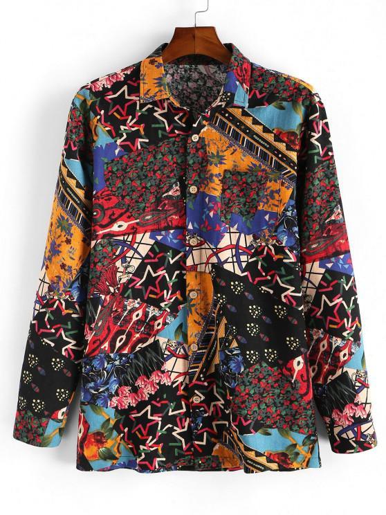 hot Floral Patchwork Print Button Up Shirt - MULTI 2XL