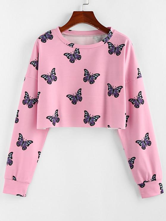 ZAFUL Crew Neck Butterfly Print Crop Sweatshirt - وردي فاتح XL