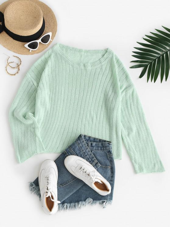 Pointelle Knit Drop Shoulder Roll Trim Sweater - اخضر فاتح M