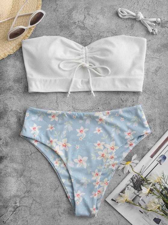 women's ZAFUL Flower Ribbed Cinched Keyhole Tankini Swimwear - WHITE XL