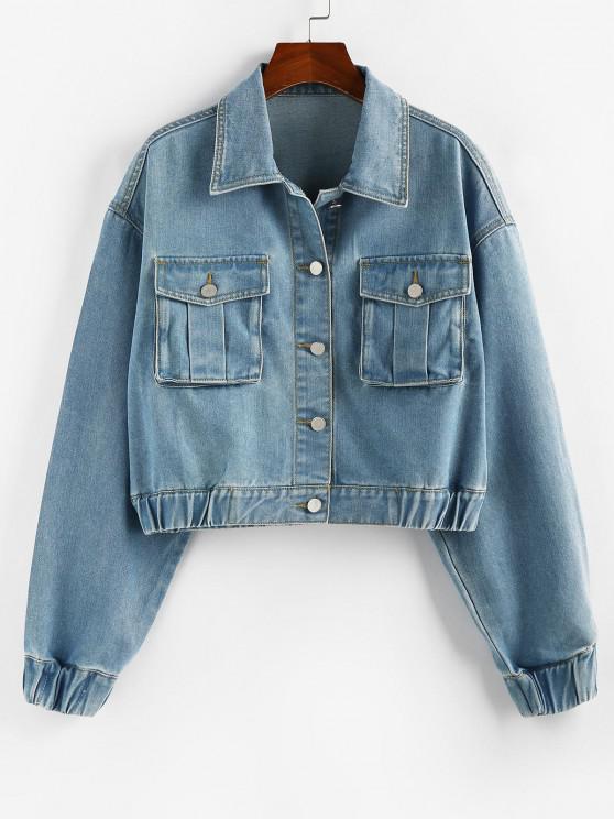 affordable ZAFUL Drop Shoulder Elastic Cuffs Pocket Denim Jacket - LIGHT BLUE S