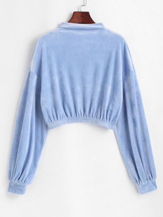 outfit ZAFUL Mock Neck Velvet Cropped Sweatshirt - POWDER BLUE L