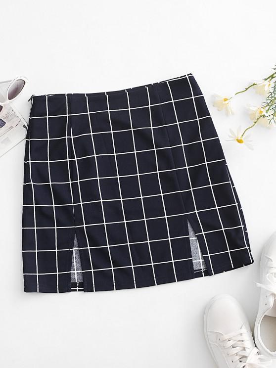unique ZAFUL Grid M Slit Mini Skirt - CADETBLUE S