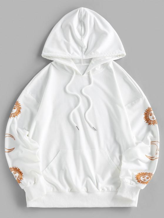 ZAFUL Sun Moon Print Drop Shoulder Pocket Hoodie - أبيض S