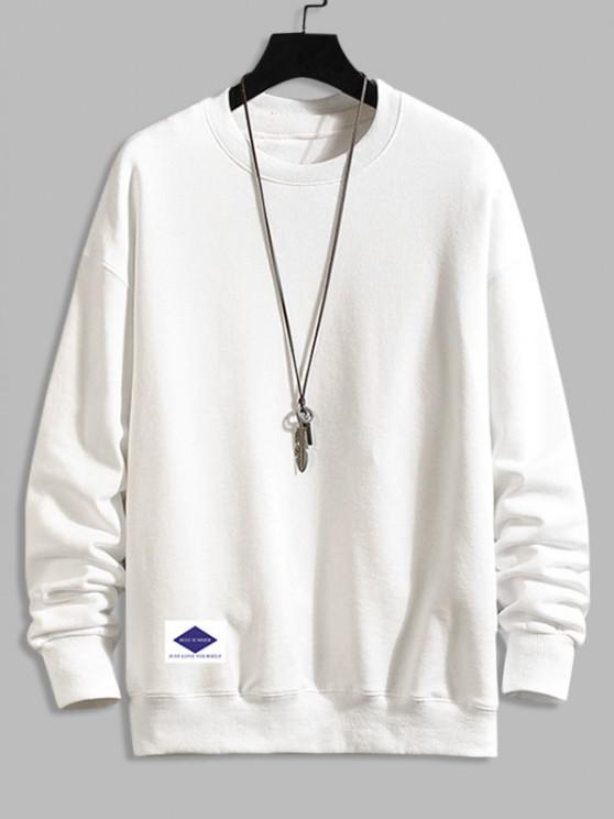 shop Lounge Crew Neck Drop Shoulder Sweatshirt - WHITE 4XL