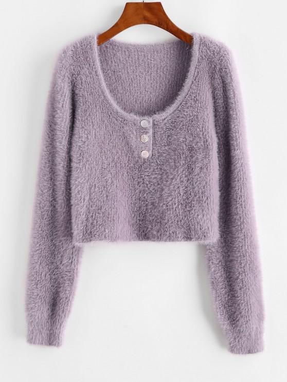 Half Buttoned Fuzzy Cropped Sweater - ضوء ارجواني حجم واحد