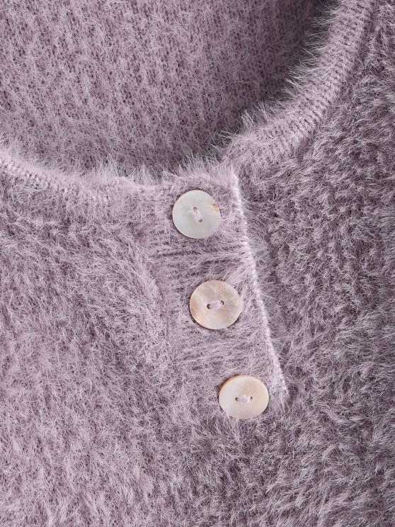 Half Buttoned Fuzzy Cropped Sweater - Light Purple   ZAFUL