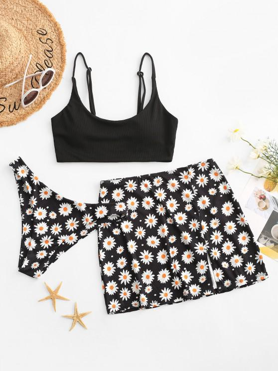 ZAFUL Daisy Print Ribbed Slit Three Piece Bikini Swimwear - أسود S
