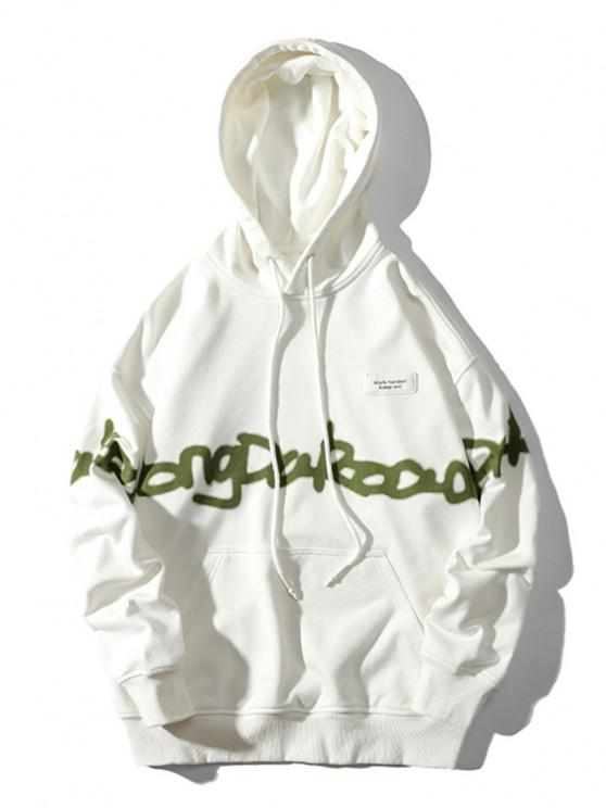 outfit Letter Pattern Drop Shoulder Hoodie - WHITE M