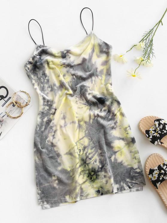 hot ZAFUL Tie Dye Velvet Slit Cowl Front Dress - SMOKEY GRAY L