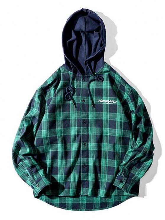 women Plaid Letter Print Colorblock High Low Hooded Shirt - DARK GREEN 3XL