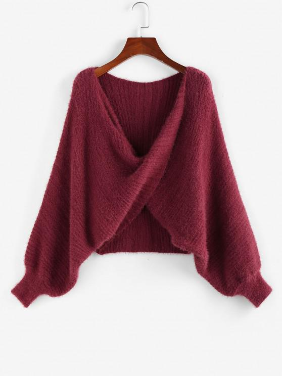 chic ZAFUL Batwing Sleeve Front Twist Sweater - DEEP RED M