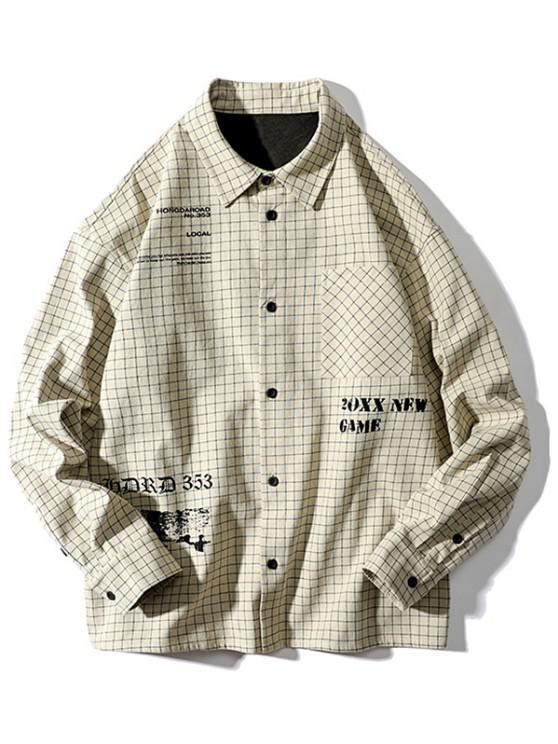 women Tartan Letter Graphic Pocket Long Sleeve Shirt - BEIGE 3XL