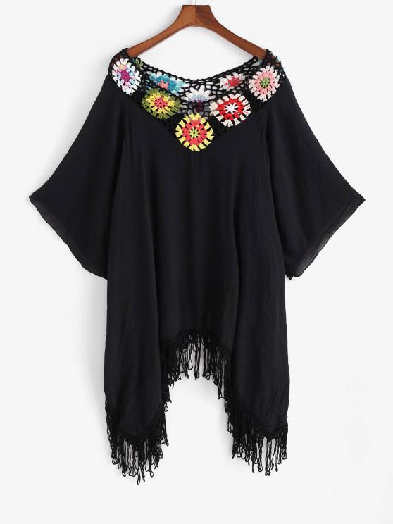 Blumen Häkeln Fransen Raglanärmel Taschentuch Cover-Up Kleid - Schwarz Eine Größe