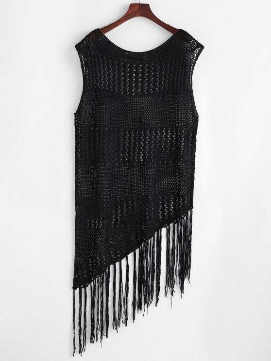 buy Asymmetrical Crochet Knit Tasseled Cover Up Dress - BLACK XL