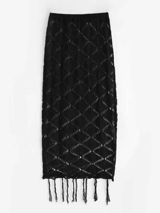 womens Openwork Fringed Knitted Maxi Beach Skirt - BLACK ONE SIZE