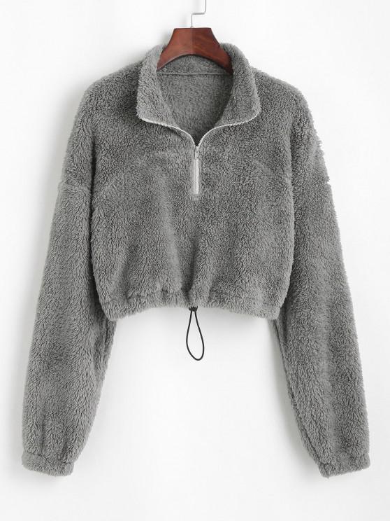 shops ZAFUL Half Zip Plush Cropped Sweatshirt - ASH GRAY XL