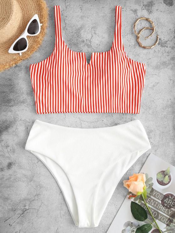 ladies ZAFUL Ribbed Striped V Wired Tankini Swimwear - RED S