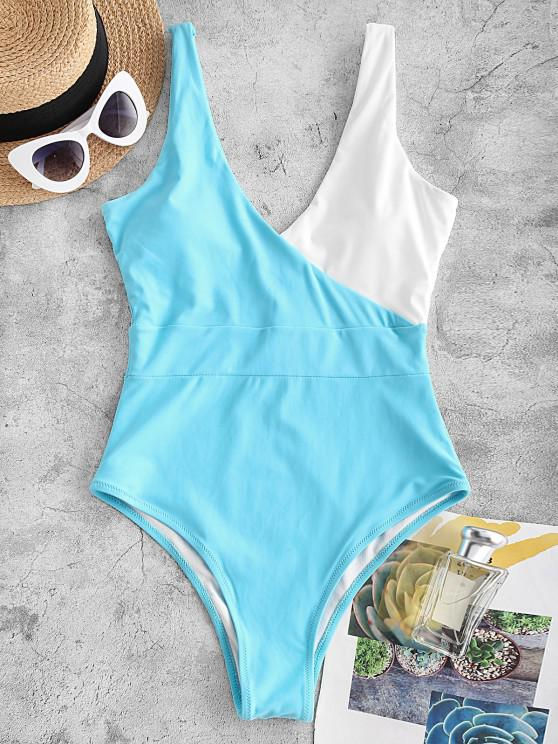 ZAFUL Bicolor Plunging One-piece Swimsuit - أزرق فاتح S