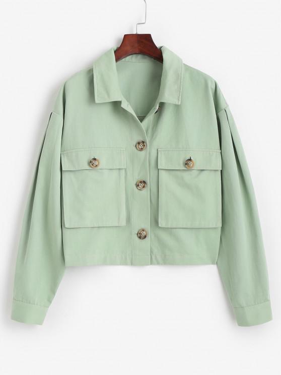 ZAFUL Tortoiseshell Button Cargo Jacket - اخضر فاتح S
