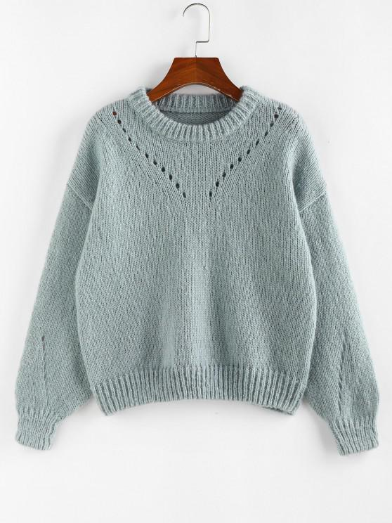 outfit ZAFUL  Drop Shoulder Pointelle Knit Sweater - BABY BLUE M