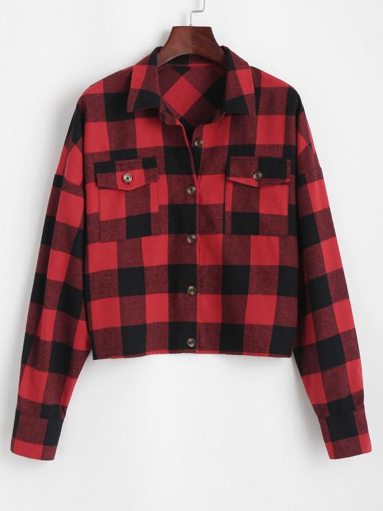 outfit ZAFUL Plaid Casual Shirt - RED S