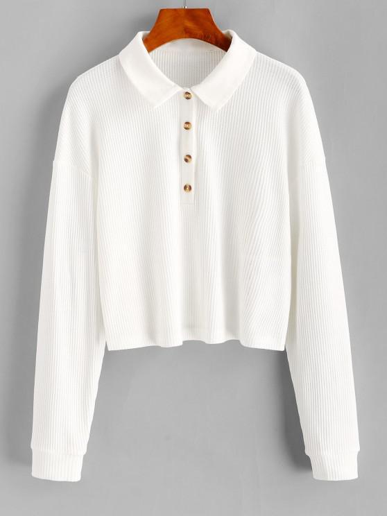 buy ZAFUL Button Placket Knit Long Sleeve Top - MILK WHITE M