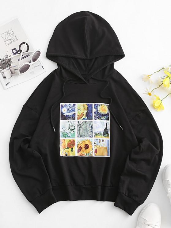 women ZAFUL Sunflower Galaxy Art Print Drop Shoulder Hoodie - BLACK M