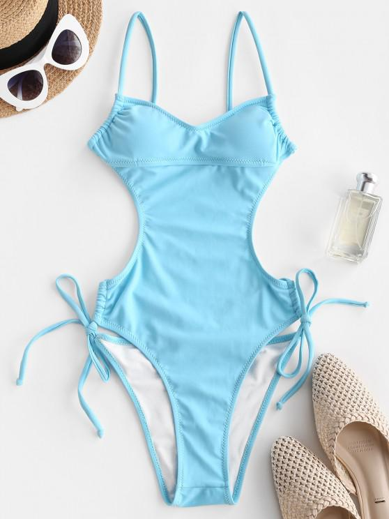 women's ZAFUL Backless Drawstring O Ring One-piece Swimsuit - LIGHT BLUE M