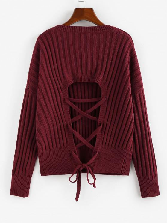 ZAFUL Ribbed Lace Up Drop Shoulder Jumper Sweater - Deep Red S