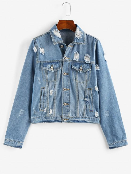 buy ZAFUL Distressed Button Up Denim Jacket - BLUE L