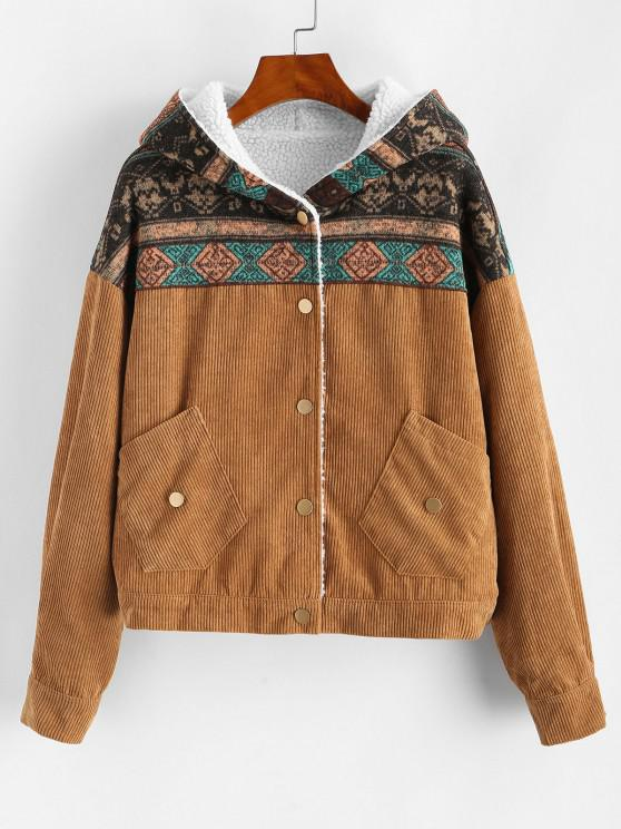 chic Hooded Shearling Lined Ethnic Corduroy Jacket - TAN L
