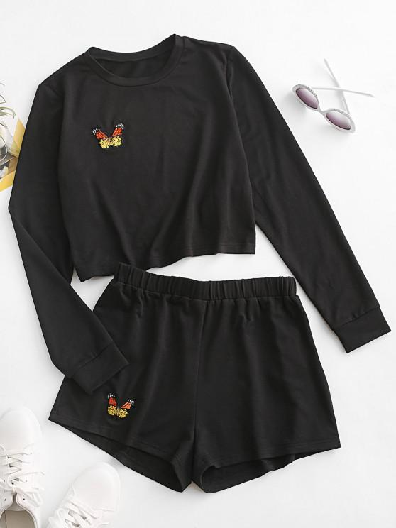 ZAFUL Butterfly Embroidered Long Sleeve Shorts Set - أسود S