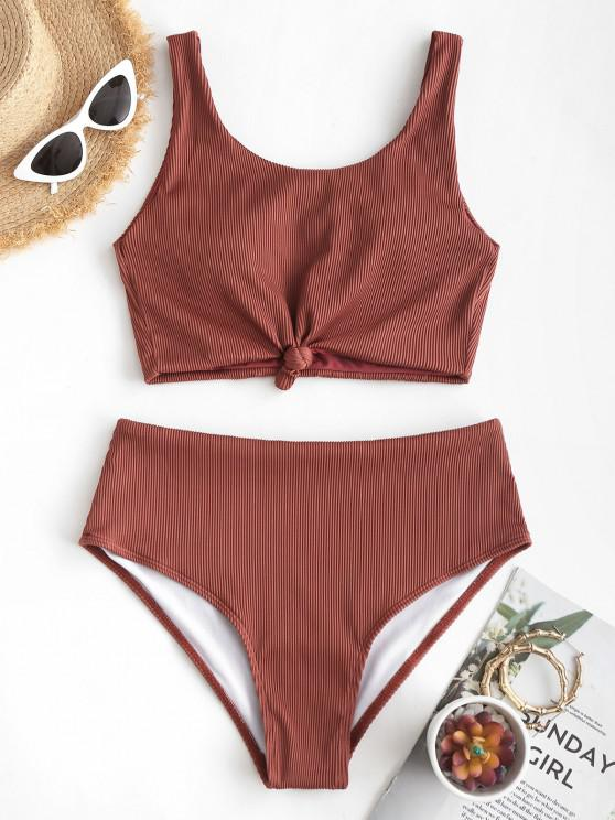 ladies ZAFUL Knot Textured Ribbed Tankini Swimsuit - DEEP RED L
