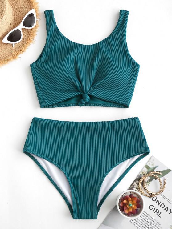 ZAFUL Knot Textured Ribbed Tankini Swimsuit - ديب غرين M