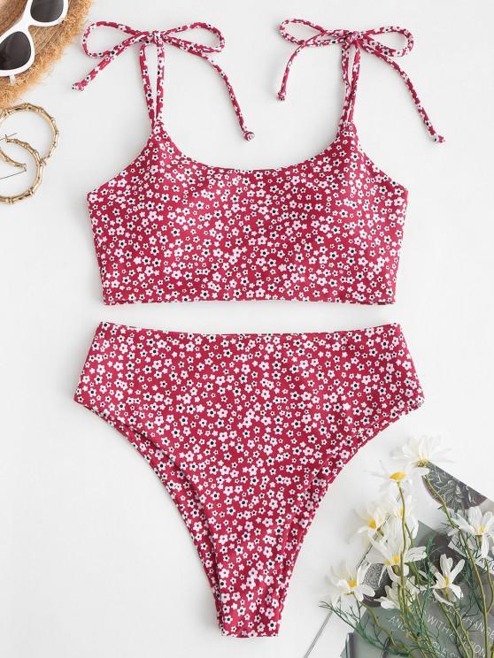 outfit ZAFUL Tie Ditsy Floral Crisscross Tankini Swimwear - RED M