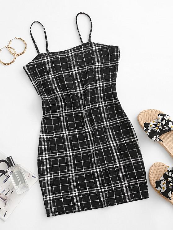 fancy ZAFUL Plaid Cami Bodycon Dress - BLACK S