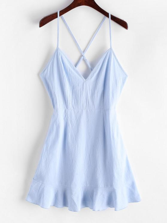 outfits Olivia Messler X ZAFUL Ruffles Criss Cross Solid Cami Dress - PASTEL BLUE M